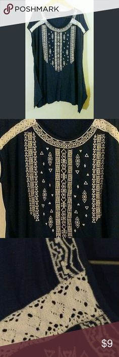 Navy Blue Long Flowy Boho Blouse XXL In excellent condition, no signs of wear, damage, or pilling.  Beautiful navy blue with off white lace and embroidery detailing.  Freshly laundered and ready to ship! RXB Tops