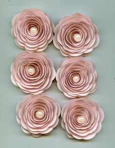 Muslin Nude Pink Rose Spiral Paper Flowers with by crazy2becrazy