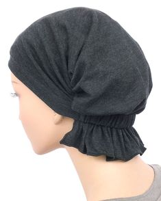 chemo beanie abbey cap in raven black cotton knit Bandana, Chemo Beanies, Turban Style, Knitted Bags, Black Cotton, Knitting, Hats, Clothes, Women