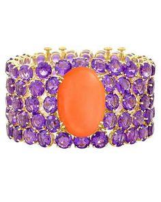 Margot McKinney Jewelry NYC Coral & Amethyst Cuff Bracelet in 18K Yellow Gold