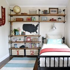 Industrial Boy Bedroom ~ cute way to decorate a really small bedroom! Small Space Bedroom, Small Bedroom Designs, Small Room Design, Small Rooms, Kids Rooms, Small Childrens Bedroom Ideas, Bedroom Storage Ideas For Small Spaces, Big Boy Rooms, Small Beds