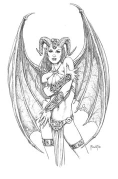 coloring pages of succubus | Succubus, in Mitch Foust's SOLD Comic Art Gallery…