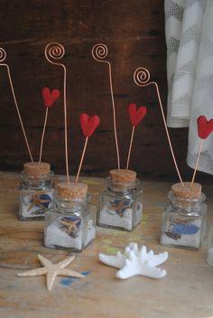Wedding Beach favors Table numbers Photo holders set of 10. $90.00, via Etsy.