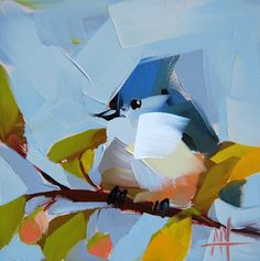 Tufted Titmouse n. 31 original bird oil painting by Angela Moulton