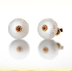 "Galatea: November Pearl Flower - 10mm Pearl Earrings carved into the shape of a Chrysanthemum with a gleaming 2mm Citrine center. Set in 14K Gold. From the ""Pearl Flowers"" collection."