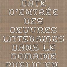 Date d'entrée des oeuvres littéraires dans le domaine public en France Aperçu pour la période 2015 - 2020 Domaine Public, Date, Les Oeuvres, Math Equations, France