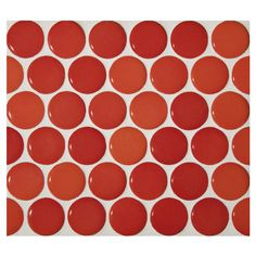 Penny Round Mosaic | Rojo Coral - Gloss | Complete Tile Collection