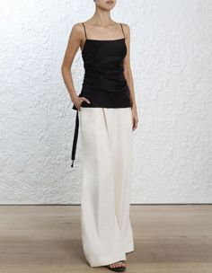Zimmermann Ruche Slip Cami. Model Image. Our model is 5 11 180 cm and is wearing a size 0