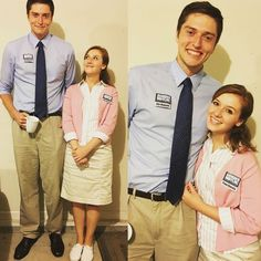 Hallowen Costume Couples DIY Couples Halloween Costume Ideas - Pam Beesly and Jim Halpert from the Office EPIC TV series The Office Costumes, Office Halloween Costumes, Unique Couple Halloween Costumes, Hallowen Costume, Last Minute Halloween Costumes, Halloween Couples, Unique Costumes, Couple Costume Ideas, Family Costumes