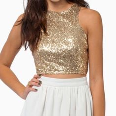 Tops - Gold Sequin Crop Top