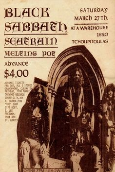 Black Sabbath tickets, four bucks, at a warehouse.