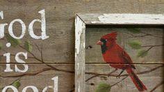 Pallet wall Decor Hand painted cardinal by TheWhiteBirchStudio