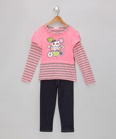 Love this Hot Pink Stripe Kitty Layered Tunic & Jeggings - Toddler & Girls on #zulily! #zulilyfinds