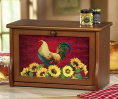 Country Rooster and Sunflower Wooden Bread Box Kitchen Decor