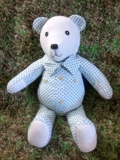 Memory Bear made from little boys shirts. Great way to hang onto somthing special from your kids childhood.  Fallow me on Facebook: Creative Crafts by Dawn