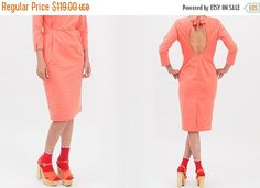 Check out SALE Red Open Back Pencil Dress in Midi Knee Length with Bow tie knot and Pockets, Unique Elegant Cocktail Dress on annakshop Dresses For Sale, Sexy Dresses, Dresses For Work, Dress Sale, Indie Outfits, Casual Outfits, Elegant Cocktail Dress, Open Back Dresses, Pencil Dress