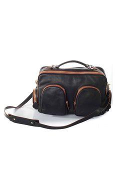 Brown & Black Leather Shoulder Bag