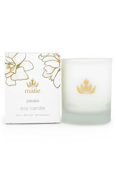 Malie Organics 'Pikake' Organic Soy Candle, nourishes and calms the spirit with the pure, exotic aromas of Hawaii. Experience Hawaii's warm nights and enchanting essence with the soft and sexy aroma of Pikake, Hawaiian jasmine.