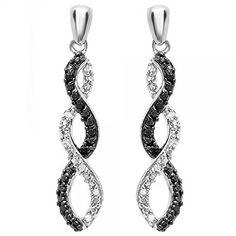 #blackdiamondgem 0.10 Carat (ctw) Sterling Silver Black & White Diamond Ladies Infinity Swirl Dangling Earrings 1/10 CTby DazzlingRock Collection - See more at: http://blackdiamondgemstone.com/jewelry/earrings/drop-dangle/010-carat-ctw-sterling-silver-black-white-diamond-ladies-infinity-swirl-dangling-earrings-110-ct-com/#sthash.QWkB7BTN.dpuf