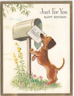 Vintage Dachshund Dog at Mailbox with Glittered Letter Birthday Greeting Card