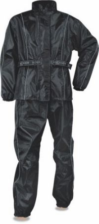 Mens Black /& Silver Deluxe Rain Suit For Motorcycle Riders w// Reflective Piping