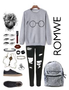 """Harry Potter sweatshirt Romwe"" by ahmnamati ❤ liked on Polyvore featuring Topshop, Vans, Eyeko, Lime Crime, NARS Cosmetics, LULUS, Tiffany & Co., NOVICA, Journee Collection and Warner Bros."