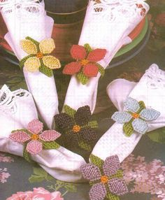Garden Party Napkin Rings Flowers Plastic Canvas Pattern Only from A Magazine | eBay