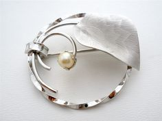 Sterling Silver Natural Pearl Round Signed Cr. Co Estate Brooch Pin Vintage | eBay