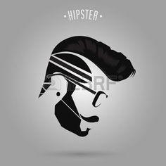 coiffures hommes: conception de style de cheveux de l'homme hippie sur fond gris