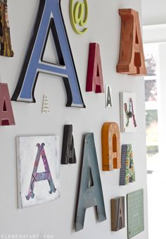 typography wall decor letter A large