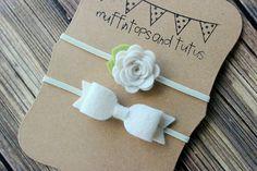 Apoyo de fieltro diadema conjunto - flor de la venda de venda de recién nacido/bebé/niño pequeño - marfil - foto