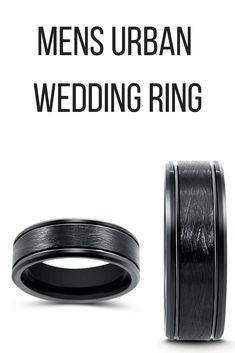 Mens black urban wedding ring. Crafted out of black tungsten. This mens wedding ring has a brushed textured center and polished bevled edges.