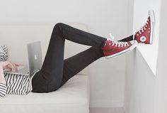 Striped shirt, jeans, converse