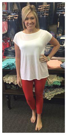 White muscle tee, $19.95 Dear John Metro scarlet colored jeans, $70
