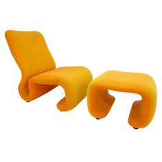 Sculptural Space Age Lounge Chair & Ottoman by Olivier Mourgue