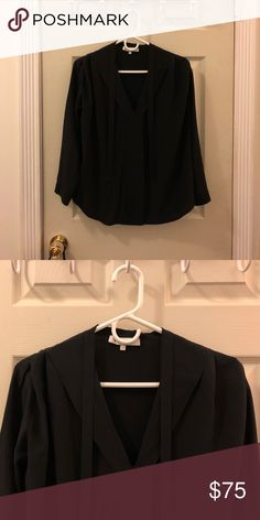 Sandro top—sailor style 🛥 Love this black silk Sandro blouse. Easy to dress up or dress down and perfect for the office or date night. Love it tucked into skinny jeans with a blazer. You can't tell from the pics but it has a beautiful pleated detail along the shoulders—falls so well!! And the neckline is gorgeous. Sandro Tops Blouses