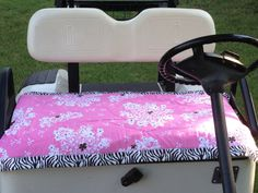 Does your seat get hot in the summer? Great idea found on Etsy. https://www.etsy.com/listing/164714311/golf-cart-seat-cover-pink-carrot-top