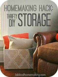 homemaking hack: make your own cheap & beautiful storage solutions - Biblical Homemaking