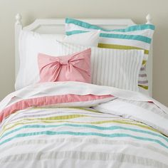 Sherbet Stripes Throw Pillow in Throw Pillows | The Land of Nod