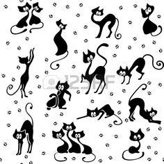 Una gran cantidad de gatos negros en varias poses. Sus pistas. Sin fisuras. Foto de archivo
