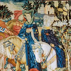 'Falconry' (detail), woven wool tapestry, Netherlands, possibly Arras, 1430s. Museum no. T.202-1957
