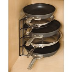 Rubbermaid W x H Freestanding Metal Cabinet Organizer at Lowe's. The stacking design of this pan organizer creates additional storage space in your kitchen. Plus, it protects your pans from scratching each other. Pan Storage, Kitchen Storage, Storage Ideas, Storage Solutions, Corner Storage, Kitchen Drawers, Storage Drawers, Pan Organization, Organisation Ideas
