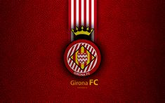 Download wallpapers Girona FC, 4K, Spanish football club, La Liga, logo, emblem, leather texture, Girona, Spain, football