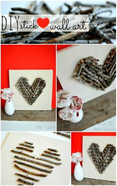 Valentine's Day Blog Hop: DIY stick heart wall art @placeofmytaste.com