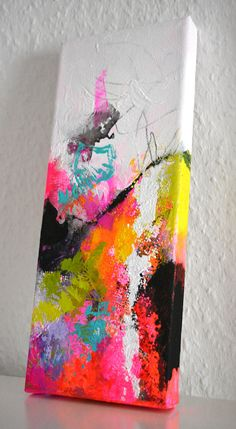 Original small abstract painting on canvas mini acrylic