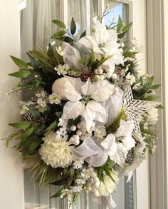 winter deco mesh wreath ideas | DELUXE CHRISTMAS Mesh Winter Wreath For Door or Wall Snow White Green