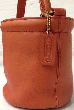 The 1968 Coach Bucket Bag with a signature Coach hangtag. Coach Bags Sale, Coach Handbags Outlet, Cheap Coach Bags, Coach Outlet, Handbags On Sale, Coach Purses, Purses And Handbags, Leather Handbags, Vintage Purses