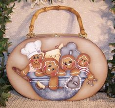 Gingerbread wood purse and 3 little gourd angels por Paintingonjars