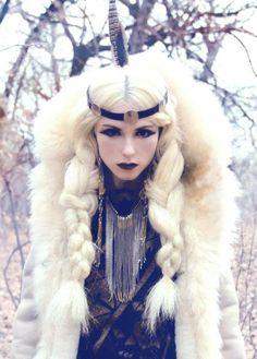 warrior queen. snow queen. braided pigtails.
