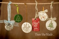 Learn how to make gorgeous DIY Polymer Clay Christmas Ornaments that can be personalized on the back with names, dates or sentimental wording. Polymer Clay Christmas, Felt Christmas Ornaments, Personalized Christmas Ornaments, Homemade Ornaments, How To Make Ornaments, Homemade Christmas, Dough Ornaments, Diy Ornaments, Ornaments Design